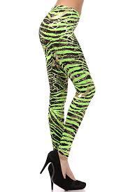 neon metallic animal zebra print leggings w gold accents pants