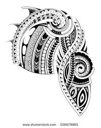 Maori Style Tattoo Design For Chest And Sleeve Areas Parts Are Separated