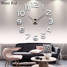 Fashion 3d Big Wall Clock Modern Design Home Decor Mirror Watch Stickers Living Room Creative