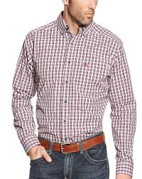 ariat men u0027s long sleeve fitted plaid button down shirt pink