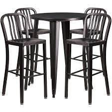 30 Round Black Antique Gold Metal Indoor Outdoor Bar Table Set With 4 Vertical Slat