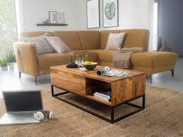 wohnling couchtisch sheesham massivholz 110x40x50 cm sofatisch mit metallbeinen