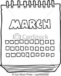 Freehand drawn black and white cartoon march calendar eps vectors