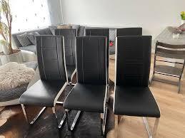 esszimmerstühle 6er set schwarz weiß chrom