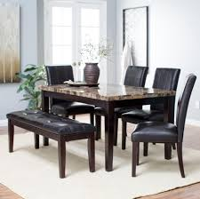 Furniture Breath Taking Granite Top Black Leather Dining Table Set With Bench Also Plants Decor