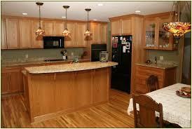 Kitchen L Shaped Design Oak Cabinet Brown Plaid Tiles Backsplash Classic Three Light Island Lighting Wood