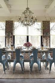 Dining Room Exposed Brick Chandelier Vintage Industrial Chairs Farmhouse Table Amazing Eclectic Decor