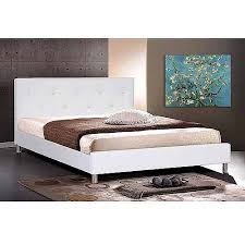 baxton studio queen modern faux leather platform bed with crystal