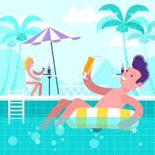 Summer Time Background Relaxed People Swimming Pool Icons Free PNG And PSD