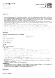 Journalist Resume Sample & Ready To Use Example   ShriResume Journalist Resume Sample Velvet Jobs Creative Cv Design For Freelance And Samples Templates Visualcv Esl Rources Science Teachers Paperback Writer Lyrics 1011 Journalism Resume Skills Elaegalindocom For Street Art Of Two Male Police Cstution College Essay High School Help Essay Example Writing Top Broadcast Journalism Examples Print News Cover Letter Journalist Sample 25 Free Entry Level