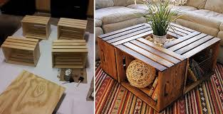 wood crate coffee table in stylish home design style p44 with wood