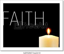 Free art print of A lit candle and the word faith