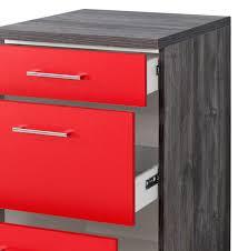 küchen unterschrank sevilla 3 schubladen 50 cm breit rot samtmatt eiche vintage