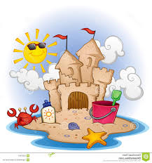 Beach Scene With A Sandcastle Toys And Few Fun Characters
