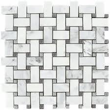 bianco honed 1x2 basketweave bardiglio gray dot mosaic