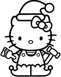 Hello Kitty Used Christmas Hat Coloring For Kids