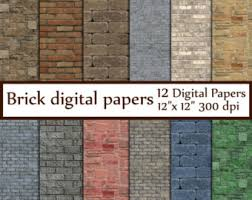 Brick Digital Paper BRICK TEXTURES Wall Backdrops Rustic Backgrounds Grunge Background