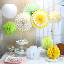 Decoration With Paper Set For Fan Tissue Pom Poms Lanterns Honeycomb Balls