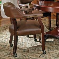 Tournament Arm Chair W Casters Brown
