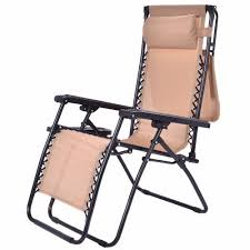 Folding Reclining Zero Gravity Lounge Chair With Shade Canopy & Cup Holder