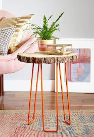 diy tree slab side table in redbook emily henderson