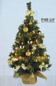 Pre Lit Tabletop Christmas Trees Mini Tree With Hessian Base Gold
