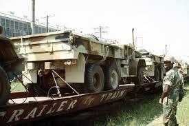 100 Railroad Trucks Marine Camouflaged M54 5ton Trucks Are Prepared For Transfer From