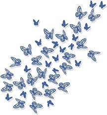luxbon 100 stück 3d schmetterling wandtattoo abziehbilder mit klebepunkten baby schlafzimmer deko blau