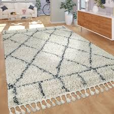 wohnzimmer teppich shaggy hochflor rauten muster