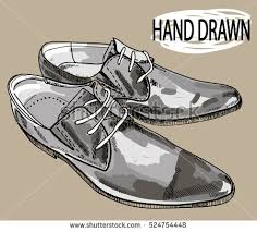 Male Shoes Drawing By Hand In Vintage Style Stylish Mens