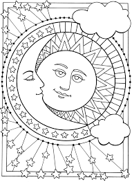 Sun Moon And Stars Designs To Color Dover Publications Sample Printable Adult Coloring Pages