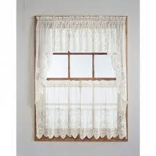 curtain delightful dogwood flower lace curtain tier ecru or