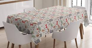 Amazon.com: Ambesonne Bicycle Tablecloth, 1940s Objects Of ...