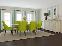 Glorious Green Dining Room Ideas With Modern Upholstery Chair Set Added Square Rug On Dark Floors