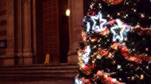 Sparkling Lights On Christmas Tree In Garden Of Catholic Church Background Stock Video Footage