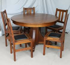 Bargain John's Antiques | Mission Oak Antique Dining Set - Stickley ... Tiger Oak Fniture Antique 1900 S Tiger Oak Round Pedestal With Ding Chairs French Gothic Set 6 Wood Leather 4 Victorian Pressed Spindle Back Circa Room 1900s For Sale At Pamono Antique Ding Chairs Of Eight Chippendale Style Mahogany 10 Arts Crafts Seats C1900 Glagow Antiques Atlas Edwardian Queen Anne Revival Table 8 Early Sets 001940s Extendable With Ball Claw Feet Idenfication Guide