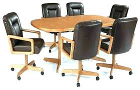 Dining Table Chairs Casters Room Sets Chair With Swivel Furniture