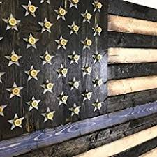 Wooden Rustic Style Thin Blue Line American Flag W Shell Casings 19x37