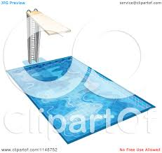 Swimming Pool With Diving Board Clipart