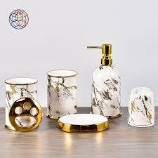 moderne luxus design hotel home dekoration keramik zahnbürste halter gold dekor marmor badezimmer zubehör set buy bad set badezimmer zubehör
