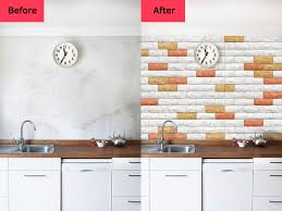 Before And After For Peel Stick 3D Wall Panels Foam Block Brick Design