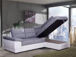 canapé angle polyuréthane canapé d angle convertible contemporain en tissu gris pu blanc