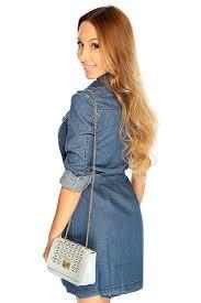 blue denim button up waist tie short cute summer denim dress