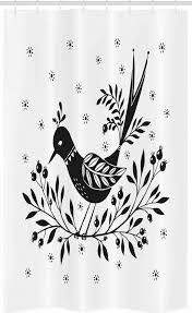 abakuhaus duschvorhang badezimmer deko set aus stoff mit haken breite 120 cm höhe 180 cm volkskunst vogel auf thin berry zweig kaufen