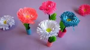 0325 Small Paper Flower Pot Handmade Craft Home Decor Quilling Miniature 3D Bouquet