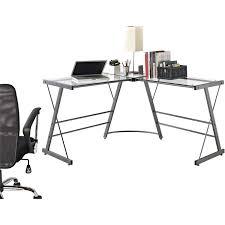 Desks Office Furniture Walmartcom by Ameriwood Home Odin Glass L Shaped Computer Desk Gray Walmart Com