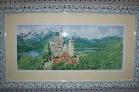 original aquarell malerei schloss neuschwanstein deutschland