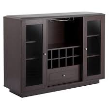 Candie Modern Multi Storage Dining Buffet With Glass Cabinets Espresso