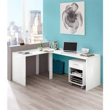 meuble bureau d angle bureau d angle elleck blanc brillant vue 1 bureau