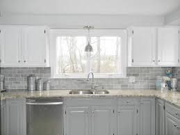 clear glass subway tile backsplash gray kitchen interior light